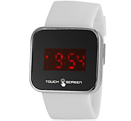 Men's Touchscreen LED Digital White Silicone Band Wrist Watch