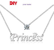 Personalized Name 925 Silver Rhinestone Necklace LIWUYOU™