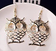 2015 Fashion Simple Hollow Owl All-Match Actress Diamond Earrings
