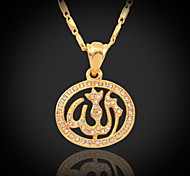 U7® 18K Gold Plated Rhinestone Cute Islamic Allah Pendant Charms Choker Necklace Religious Muslim Jewelry