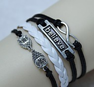 Vintage 8 characters believe owl 18cm Unisex  Leather Wrap Bracelet(1 Pc)