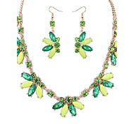 Women's Fashion Flowers Cluster Bib Statement Necklace Earrings Set