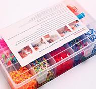 2000pcs silicone stile telaio bracciali banda 2000pcs bande colorate diy arcobaleno di colori, 12 s-clip, 1 telai, 1hook + 1box