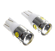 T10 2.5W 250LM 4 SMD LED Wedge Light High Power White Lamp Bulb for Car (2PCs)