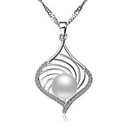 BRI.R® Fashion S925 Silver  Natural Pearl Pendant Necklace