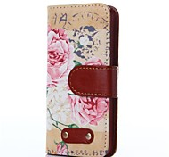 Peony Pattern Oxhide Character Retro PU Leather Case for iPhone4/4S