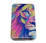 lureme Mode halbe Gesicht Löwen blu ray Druck Silikon Tasche für iPhone 6