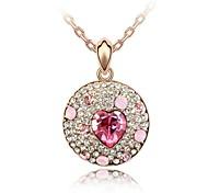 desenfoque estilo europeo collar corto navidad plateado con rosa de 18 quilates de oro rosa cristalizado rhinestone cristal austriaco