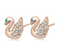 Unique 18K Rose Gold Plated Jewelry Use Shining Clear Austria Crystal Swan Stud Earrings