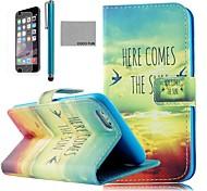 COCO FUN® Sun Bird Pattern PU Leather Full Body Case for iPhone 6 6G 4.7 with Screen Protecter, Stand and Stylus