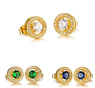 AAA Zircon Fashion Circle Electroplating Ms 18K Gold Earrings