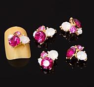 5шт 3d роза красная циркон сплава ногтей украшения искусства ногтя украшения