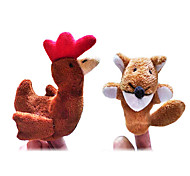 2PCS The Sly Fox and The Little Red Hen Story Plush Finger Puppets Kids Talk Prop