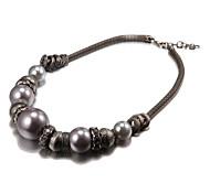Fashion Big Pearl Black Alloy Choker Necklaces(1 Pc)