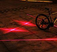 UNGROL Double Red Straight Lines+Double Cross Design 1 Laser Module 6 LED 6 Flash Mode Black Bike Warning Laser Light