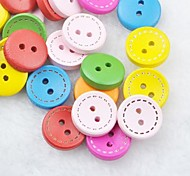 Colorful Scrapbook Scraft Sewing DIY Wooden Buttons(10 PCS Random Color)