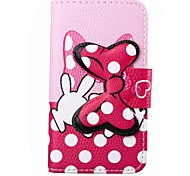 Double Hands Bowknot White Dots Pattern Bowknot Buckle PU Leather Full Body Case for iPhone 4/4S