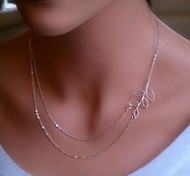 Simple Metal Leaf Foliage Double Chain Short Necklace