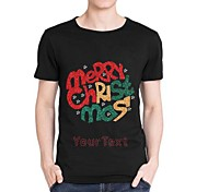 Personalized Rhinestone T-shirts Merry Chirstmas Pattern Men's Cotton Short Sleeves