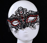 Fashion Red Gem Fox Pattern Lace Party Mask