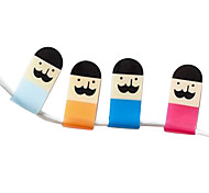 Lovely Mustache Cartoon Earphone Cable Wire Cord Organizer Cable Winder