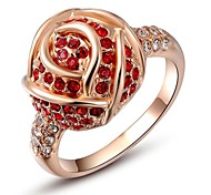 Noble 18K Rose/White Gold Plated Jewelry Use Shining Red Austria Crystal Zircon Diamond Rose Ring