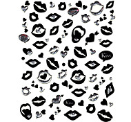 5PCS Black Lips Top Grade Nail Art Stickers