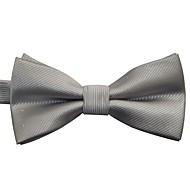 moda cor sólida do vintage jaquard prata gravata borboleta masculino com pontos de prata