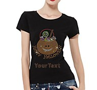 Personalized Rhinestone T-shirts Happy Halloween Candy Bag Pattern Women's Cotton Short Sleeves