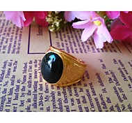 High Quality 18K Gold Plated Men's Single Rings with Oval 1pc
