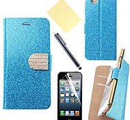 Color Glitter PU Leather Cover with Card Slot with Touch Pen and Protective Film for iPhone 6 (Assorted Colors)