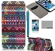 COCO FUN®Pink Tribes Pattern PU Leather Full Body Case for iPhone 6 6G 4.7 with Screen Protecter, Stand and Stylus