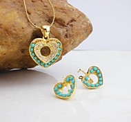 18K Gold Plated Turquoise/Pearl Heart Jewelry Set