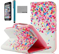 COCO FUN® Colorful Dots Pattern PU Leather Full Body Case for iPhone 6 6G 4.7 with Screen Protecter, Stand and Stylus