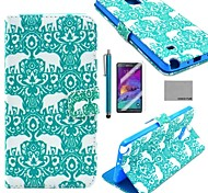COCO FUN® Green Elephant Pattern PU Leather Case with Screen Protector, Stylus and Stand for Samsung Galaxy Note 4