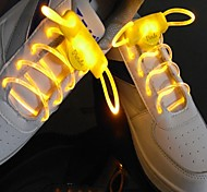 Long Bright Flash Slow Flash  Waterproof LED Shoelace Yellow (1-Pair)