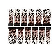 12pcs de arte marca d'água unha com estampa de leopardo adesivos c4-013