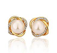 moda perlas aretes de galvanoplastia ms 18k oro y diamantes