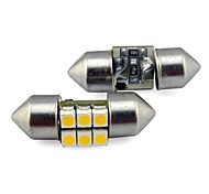 27MM 6x3528 SMD 0.5W 30LM Car Auto Festoon Light for Reading License Plate Lamp White Warm White DC 12V (2 pieces)