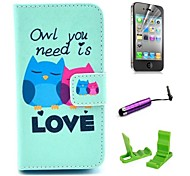 Love Owl Pattern PU Leather Case with Screen Protector and Stylus for iPhone 4/4S