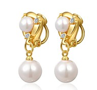 Unique 18K Yellow Gold Plated Jewelry Use Shining Austria Crystal Simulated Pearl Waterdrop Clip On Earrings