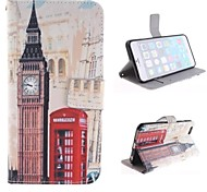 Big Ben and Red Gate Design PU Leather Case with Card Slot and Stand for iPhone 6 Plus