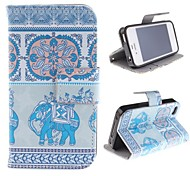 Noble Elephant Design PU Leather Case with Card Slot and Stand for iPhone 4s