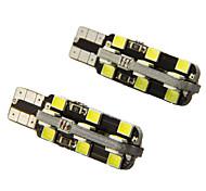 De-coded T10 5W 24-2835 SMD 6000K White Light Universal Car LED Width Reading Bulbs(DC12V 2PCS)