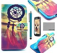 Coco Fun® modelo de nudo chino caja de cuero de la PU con el protector de pantalla, lápiz óptico y soporte para Samsung fama galaxia s6810