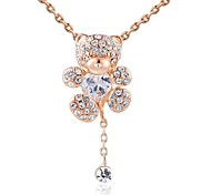 Lovely 18K Rose Gold Plated Champagne Gold/Clear Austria Crystal Little Bear Pendant Necklace