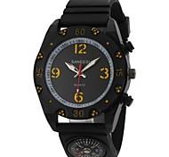 Montre design sport boussole décor silicone noir bracelet à quartz de bande des hommes (couleurs assorties)