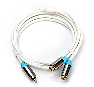 CYK 1.5m 4.92ft RCA maschio a 2 RCA Spedizione gratuita femmina cavo video audio - bianco