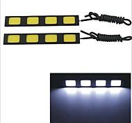 Carking Waterproof Aluminum 4-COB LED 6.4W White DRL Driving Daytime Running Light Lamp(2PCS)