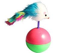 Cute Ball Mouse with Feather Style Tumbler Pet Cat Novelty Toys